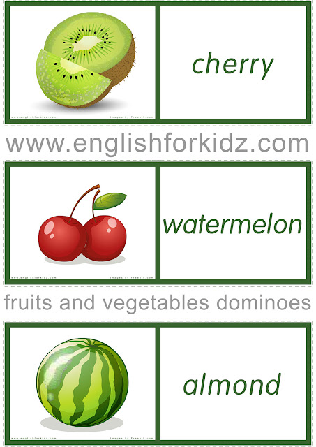 Fruit and vegetable dominoes - free printables for ESL students