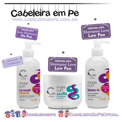 Linha Cachos Tipo 4 Make Curl - Amávia (Cowash liberado para No Poo, Leave In Cachos e Soufflé Hidratante E Nutritivo liberados para Low Poo)