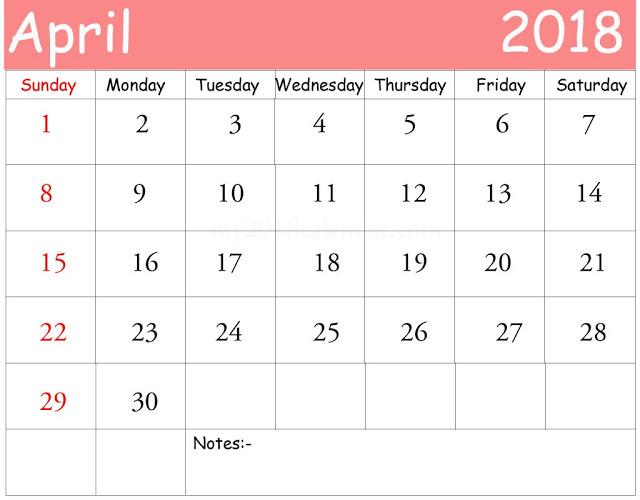 Printable Calendar 2018 Free* April 2018 Printable Calendar Blank