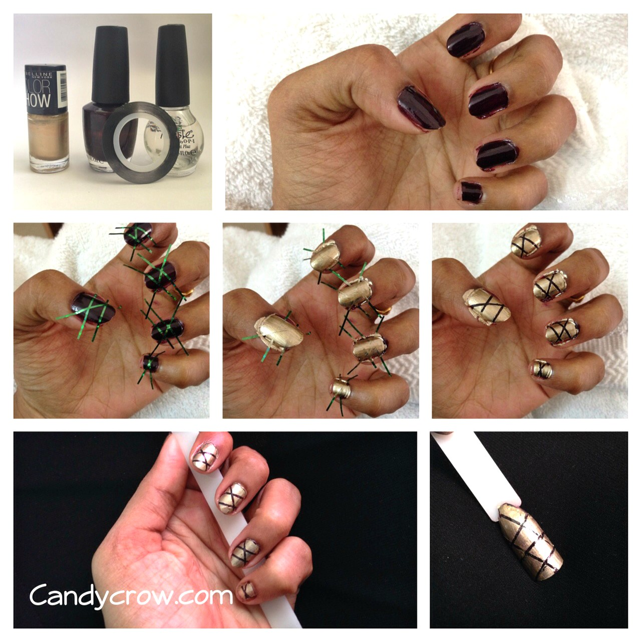 Easy Nail Art Tutorial With Stripping Nail Tape - Candy Crow