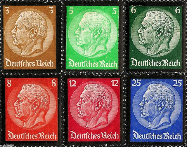 Germany: von Hindenburg  Mourning stamps with black edges/perforations