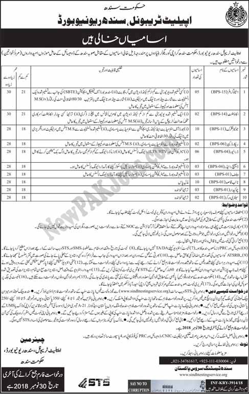 46 STS Jobs Appellate Tribunal, Sindh Revenue Board, Download Application Form