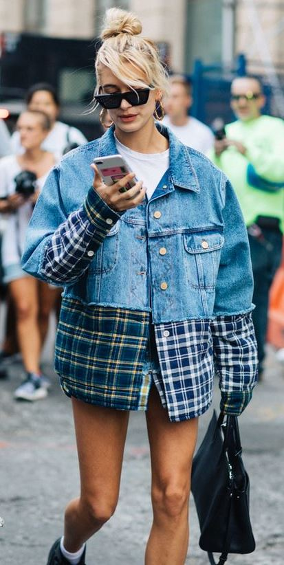 how to style a denim plaid jacket : bag + boots + top