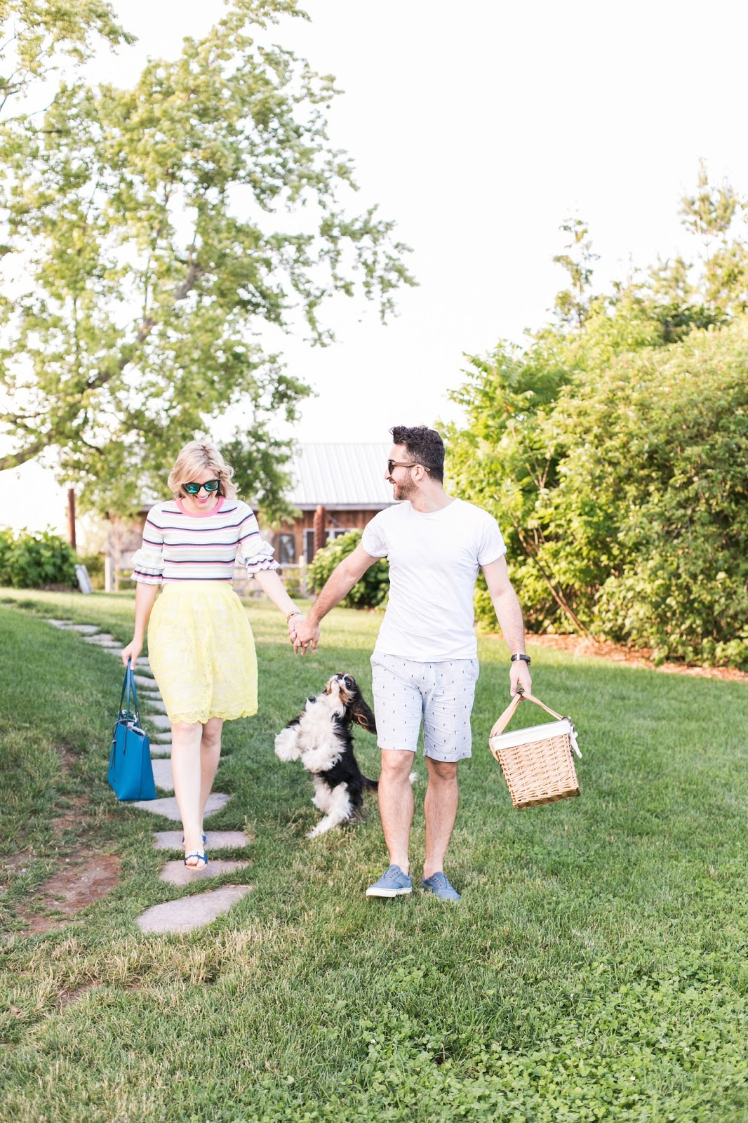 Bijuleni - Couples casual #ootd for a picnic with Cavalier King Charles Spaniel puppy