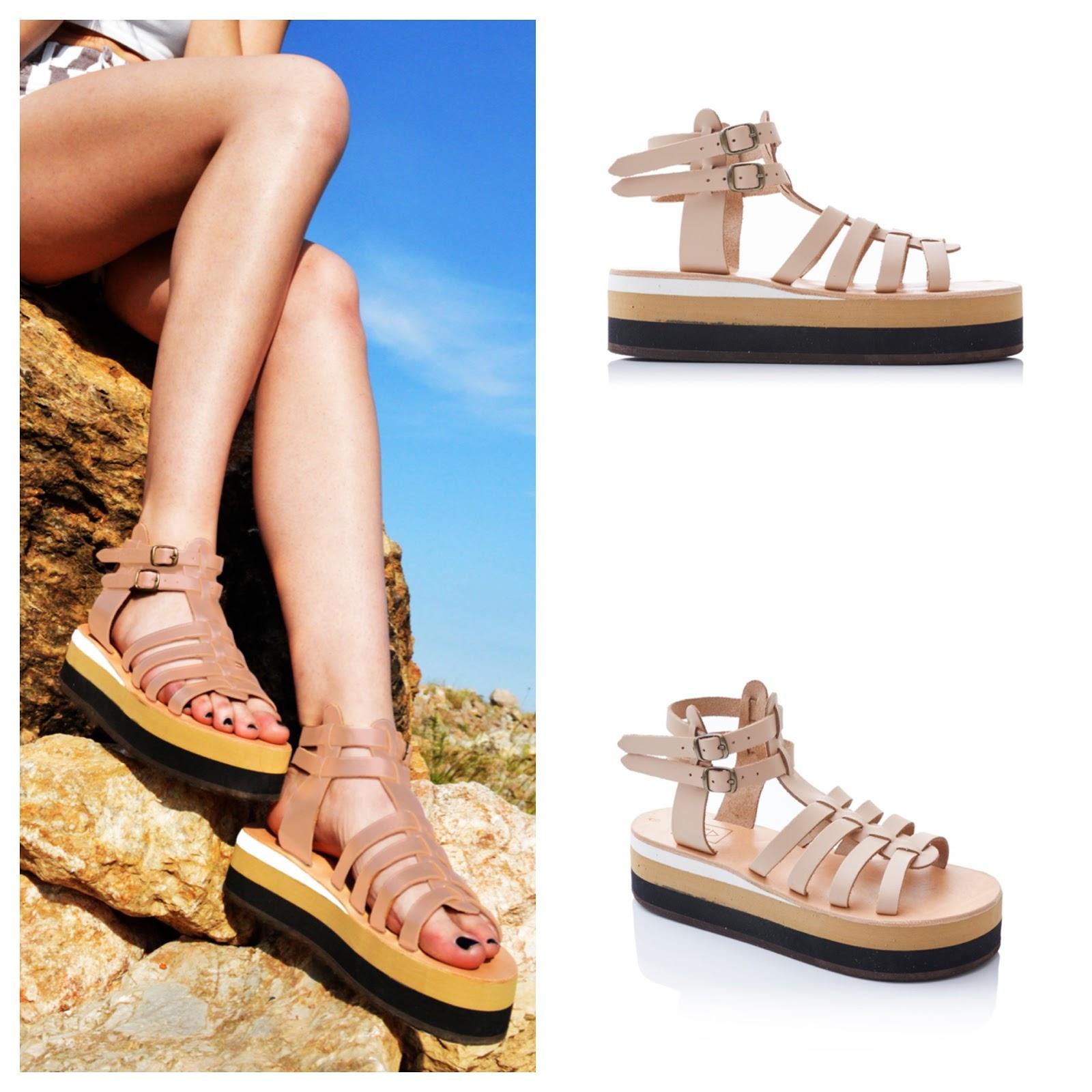 50a4d2d8ae95 The  Aplitis  Nude Beige Flatform Gladiator Sandals