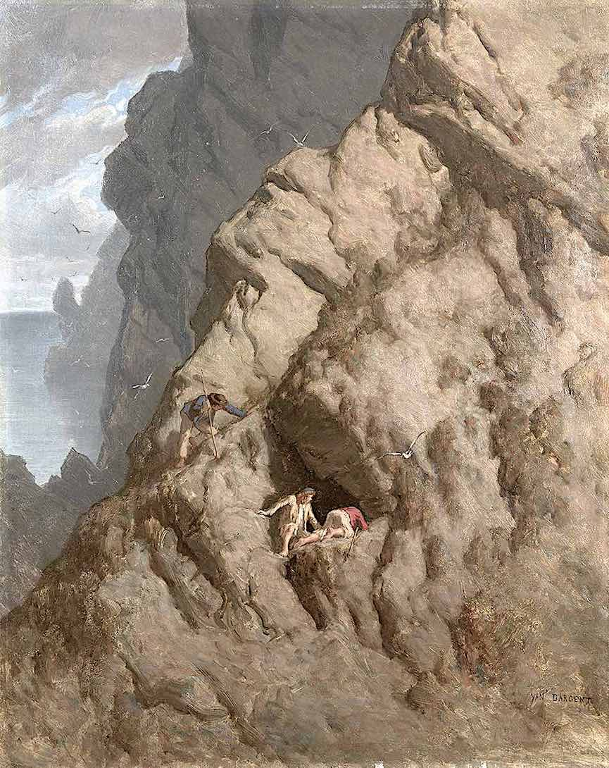 a Yan Dargent painting of three men exploring a cliffside cave