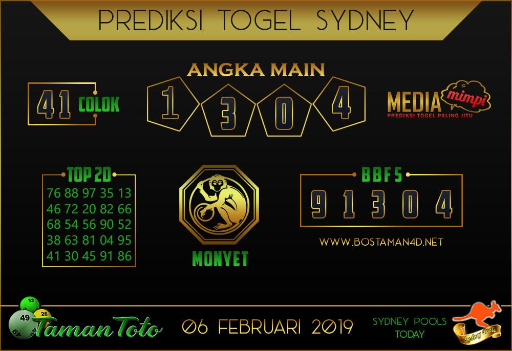 Prediksi Togel SYDNEY TAMAN TOTO 06 FEBRUARI 2019