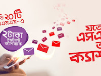 Robi instant cash back at Tk.2 on P2P SMS usage offer