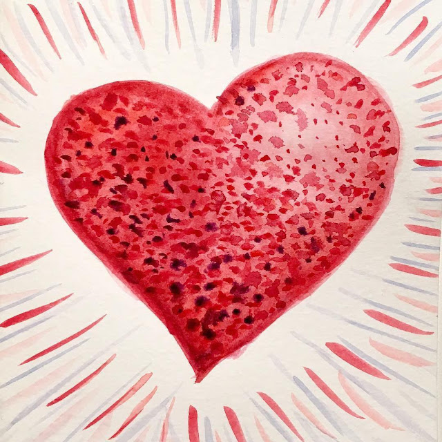 Watercolor drawing of a red heart with texture made of many colorful dots
