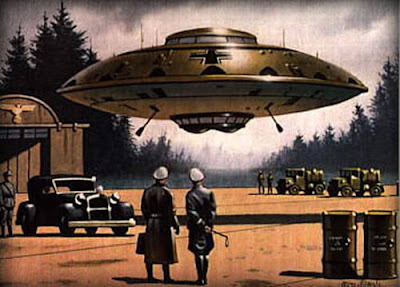 Nazi SS officers stood watching a UFO Flying Saucer.
