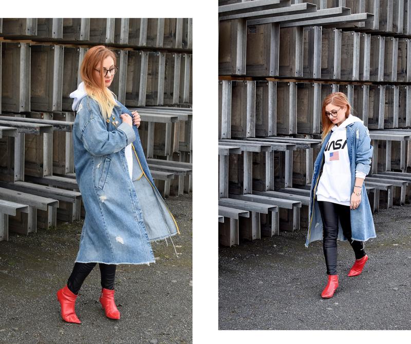 wie style ich einen Jeansmantel, Oversized Jeansmantel von Zara, Destroyed Jeansmantel