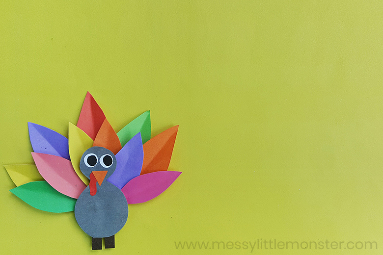 Colourful Paper Turkey Craft Plus Turkey Template Messy Little