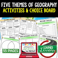 Five Themes of Geography, World Geography Graphic Organizers, World Geography Digital Interactive Notebook, World Geography Summer School, World Geography Google Activities