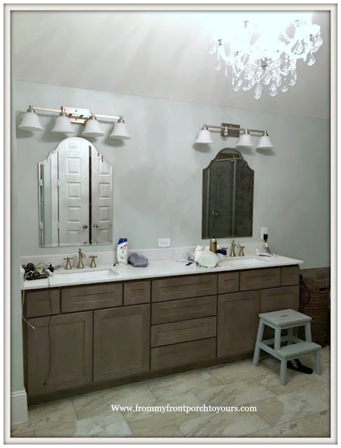 Master Bathroom Makeover-Sherwin Williams Sea Salt-French Farmhouse-Bathroom Design-Beveled Mirrors-From My Front Porch To Yours