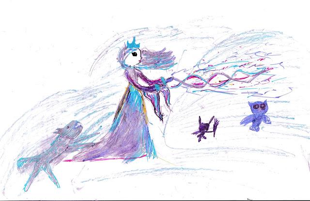 Снежная Королева с питомцами, детский рисунок