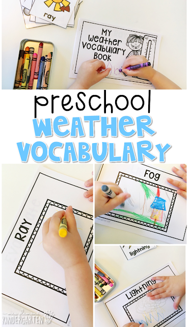 Learn new weather vocabulary by illustrating this Weather Words book. Great for tot school, preschool, or even kindergarten!