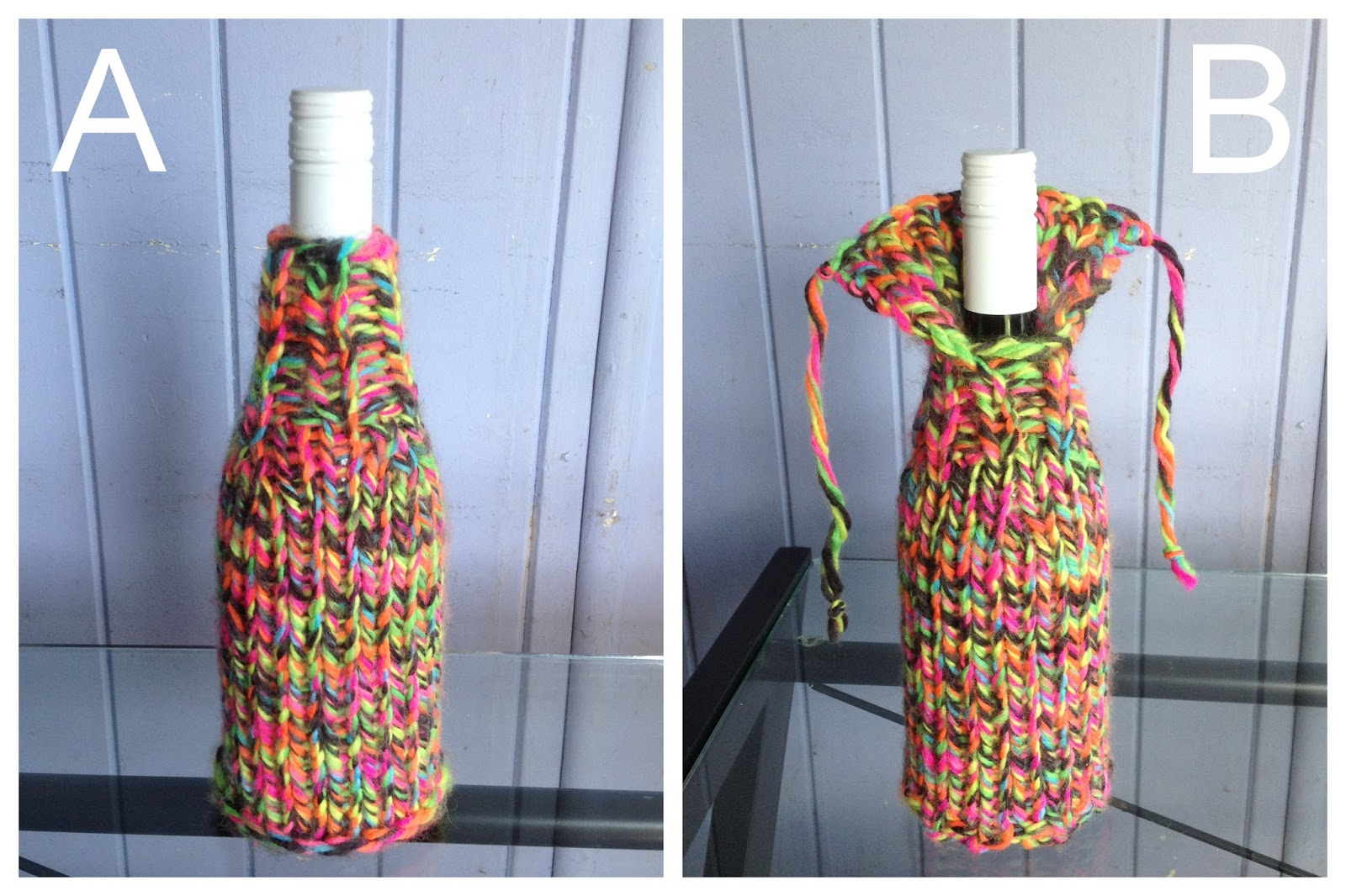 Knitting Pattern Wine Bottle Cover : Blue Jacaranda by Linda Robertus: Wine bottle cover - knitting pattern
