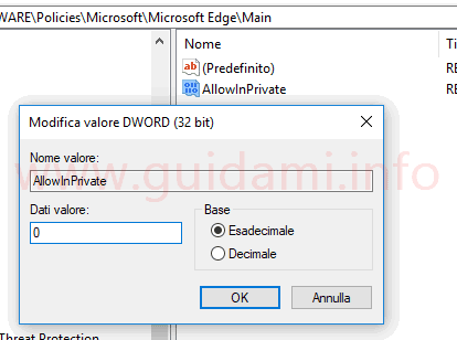 Windows Registro di sistema modificare dati valore dword 32 bit