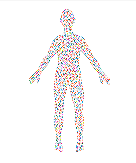 Image of a human body made up of different coloured spots