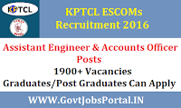 KPTCL ESCOMS Recruitment 2016 for 1900+ Assistant Engineer JE AAO Posts Apply Online Here