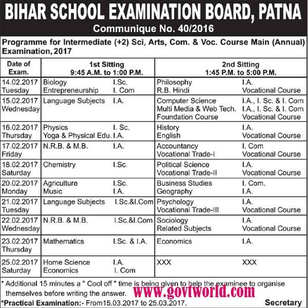 BSEB Class 10th Date Sheet 2017