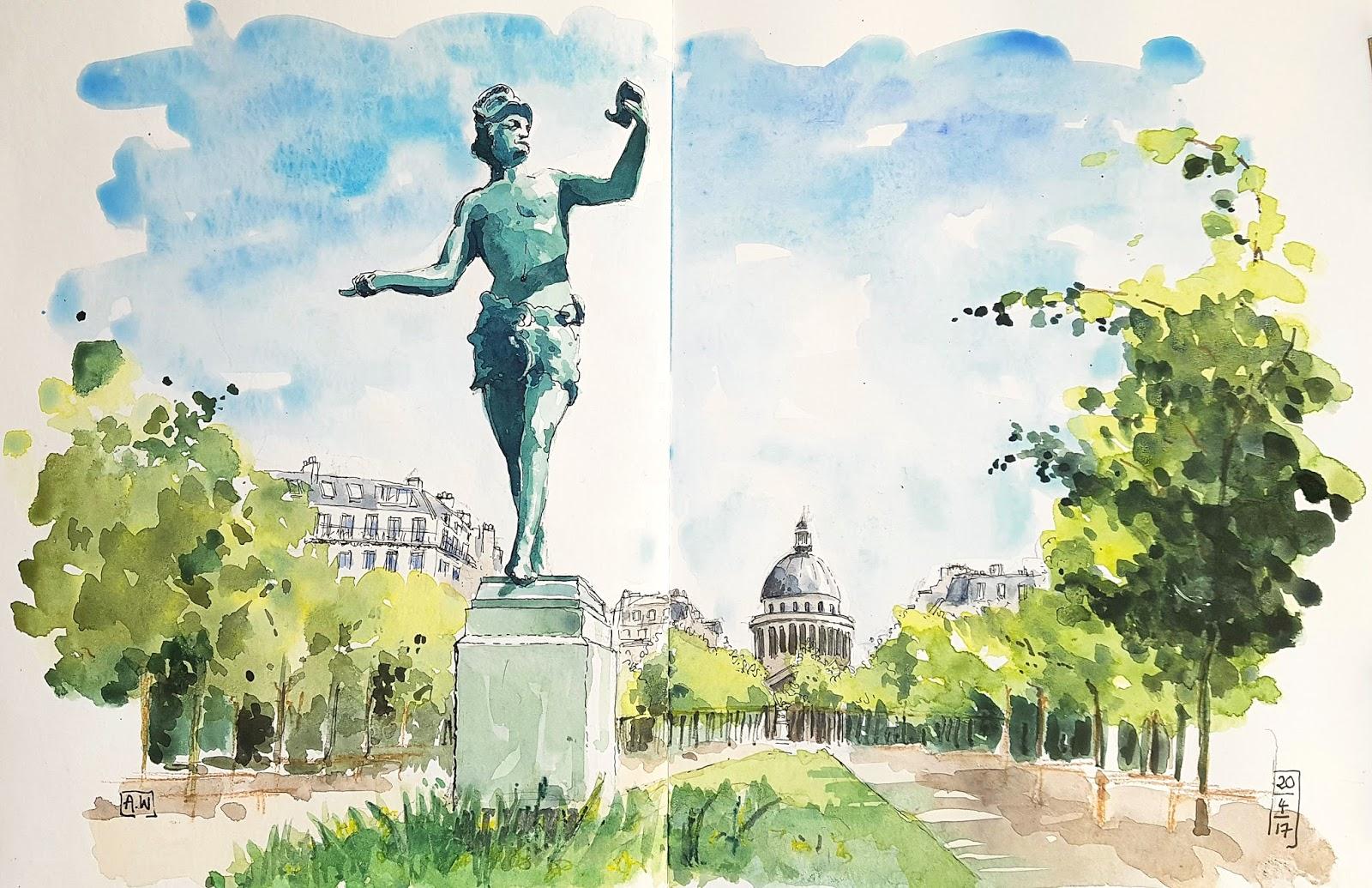 Urban sketchers paris zooms sur le jardin du luxembourg for Buvette des marionnettes du jardin du luxembourg