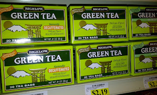 Boxes of green tea on store shelf