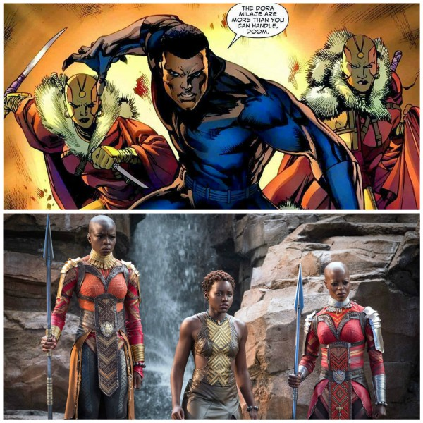 The Dora Milaje - The Adored Ones - are the female warriors (identifiable by their shaved heads and major weapons-and-martial arts skills) trained to protect the Black Panther. You had a glimpse of them in Captain America: Civil War.