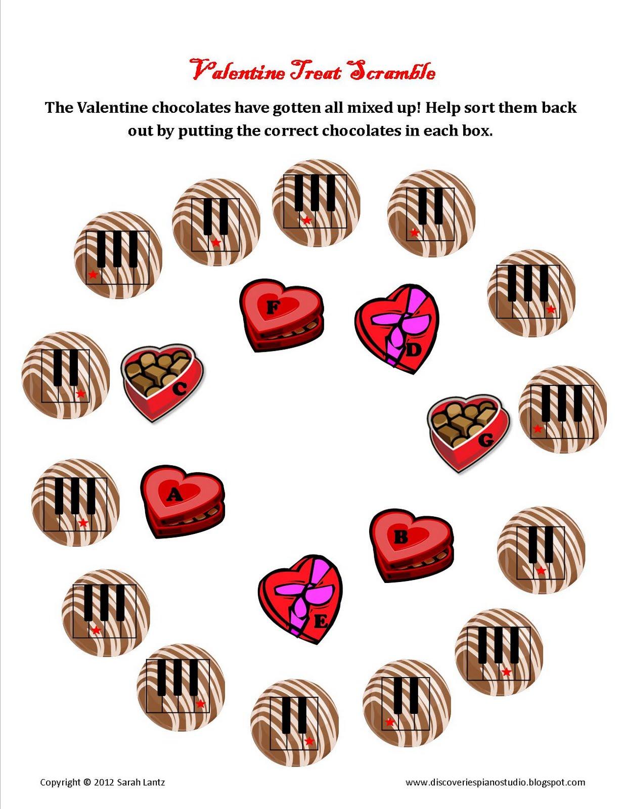 Discoveries Piano Studio Valentine Note Scramble For