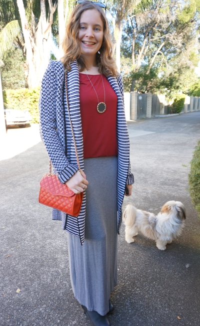Away From Blue Winter Maxi Skirt Outfit black ankle boots red tee stripe cardi