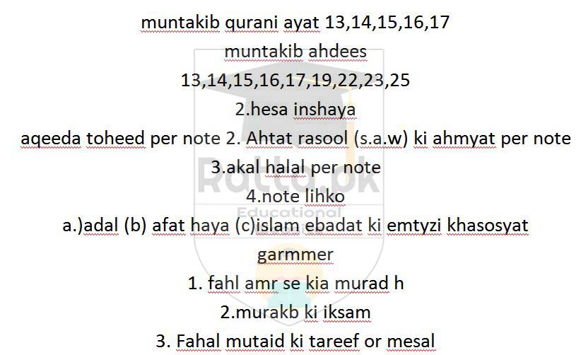 Matric 10th Islamiat Ikhtyari Guess Paper 2017 All Punjab Boards