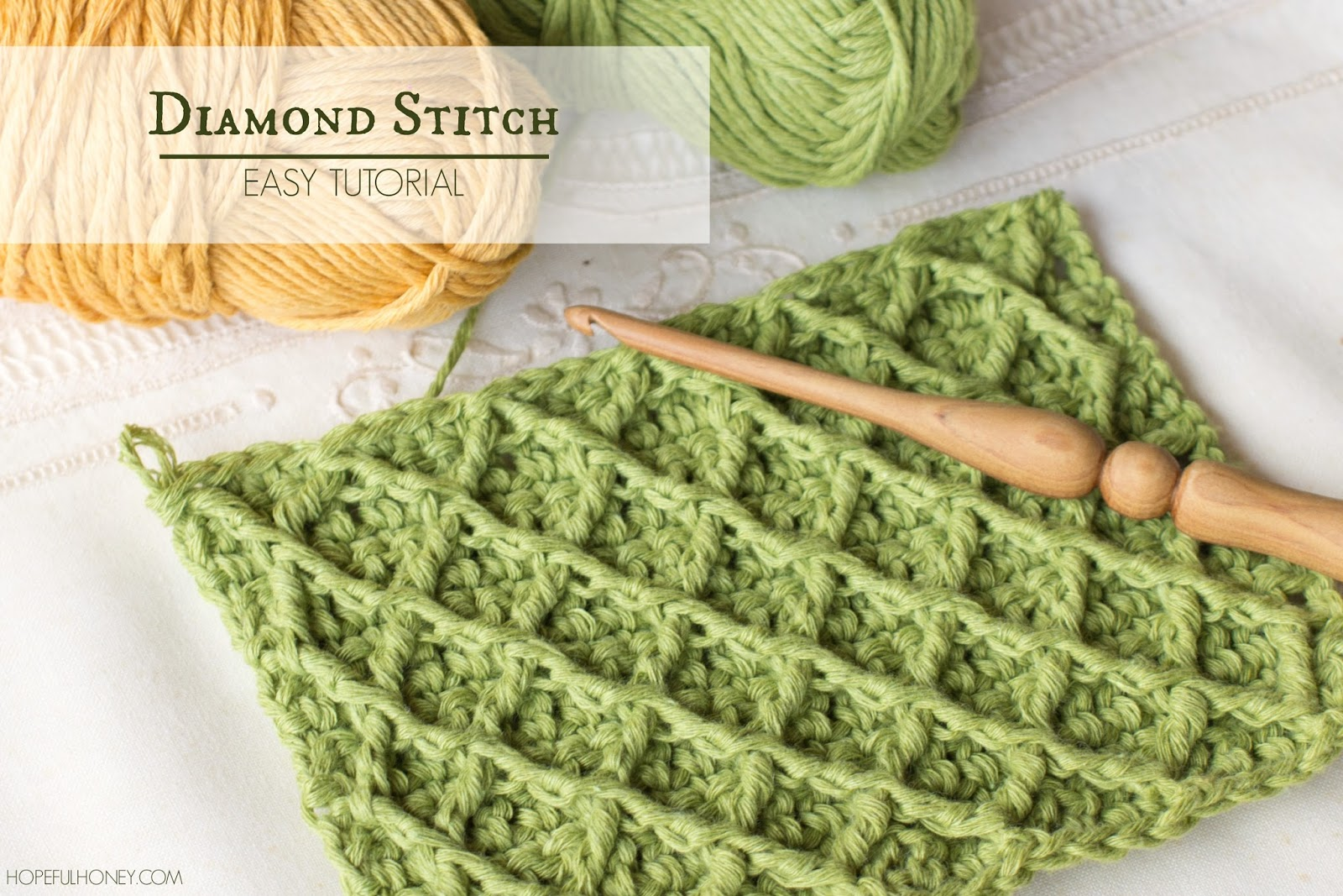 Crochet Stitches With Images : ... , Crochet, Create: How To: Crochet The Diamond Stitch - Easy Tutorial