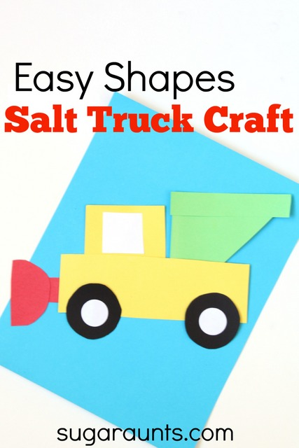 Kids will love to build this Salt Truck easy shapes craft.  My kids love to see that salt trucks plowing the winter roads!