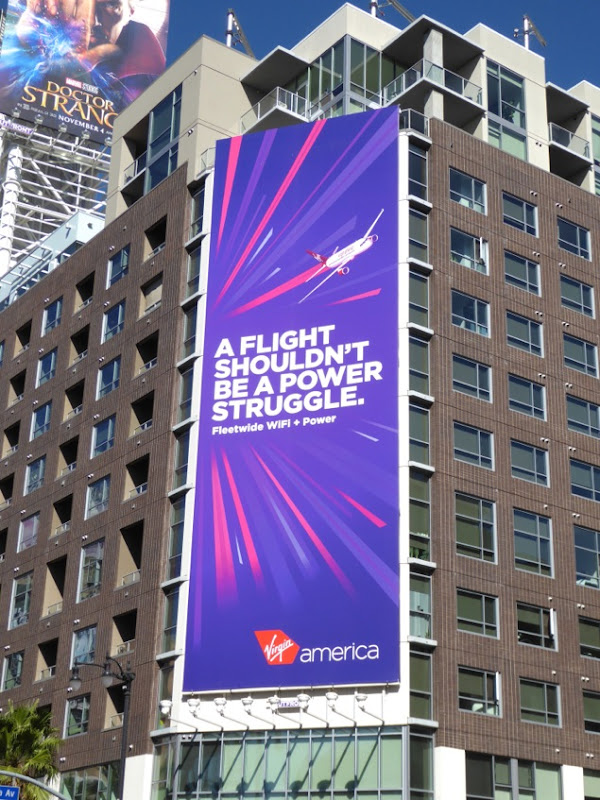 flight power struggle Virgin America billboard