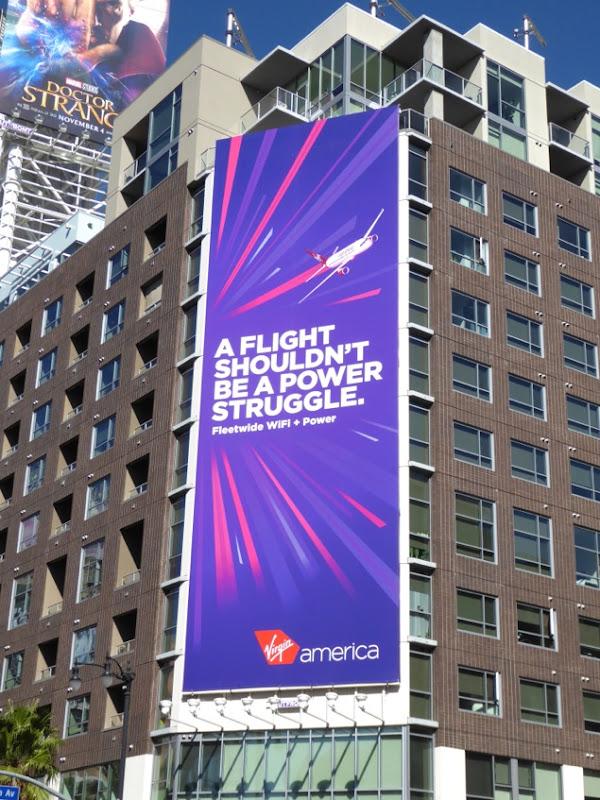 flight power struggle Virgin America billboard