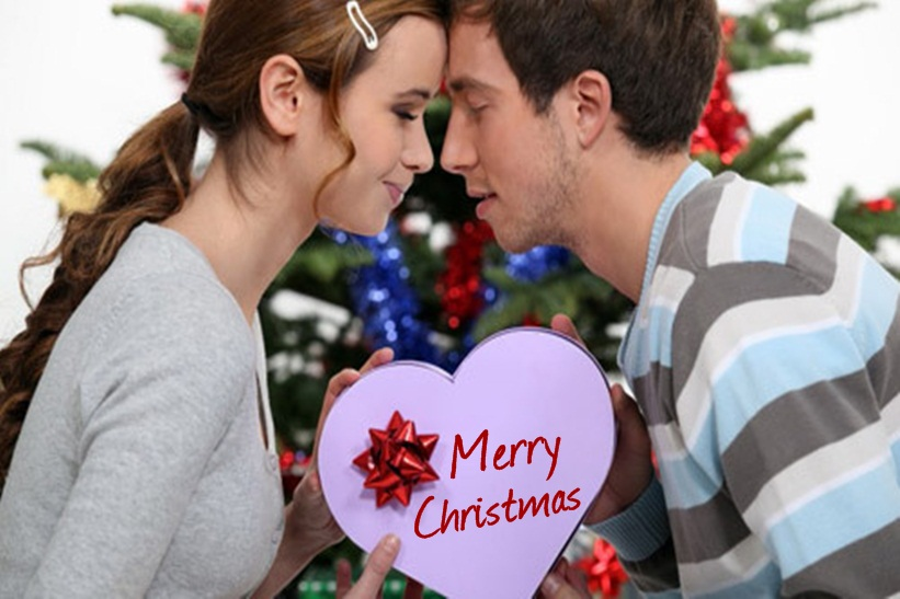 Romantic Christmas Messages with Couple Pic