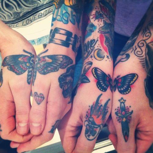 Melhor Amigo de Tatuagens de Borboleta na Mão