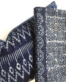 CAD INTERIORS family room design ORC One Room Challenge hmong batik bohemian textiles indigo lumbar