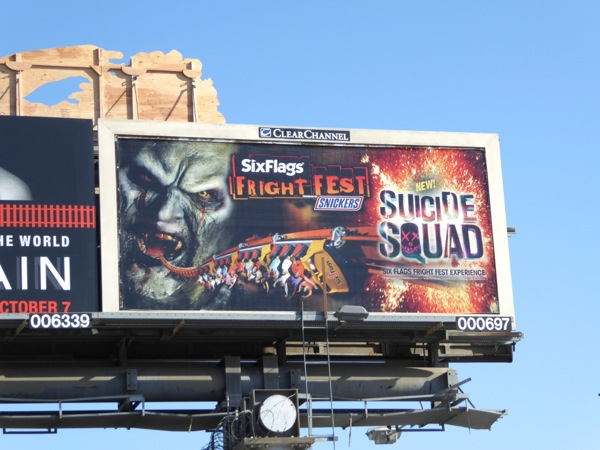 Six Flags Fright Fest Suicide Squad billboard