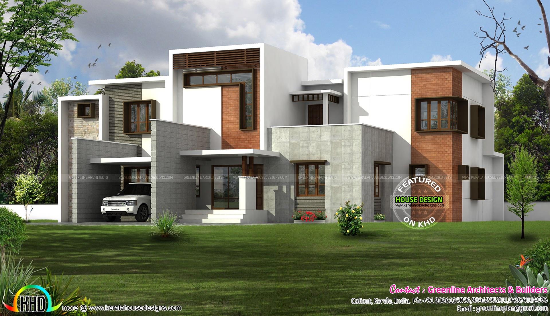 Box type home in beautiful style kerala home design and Types of house plans