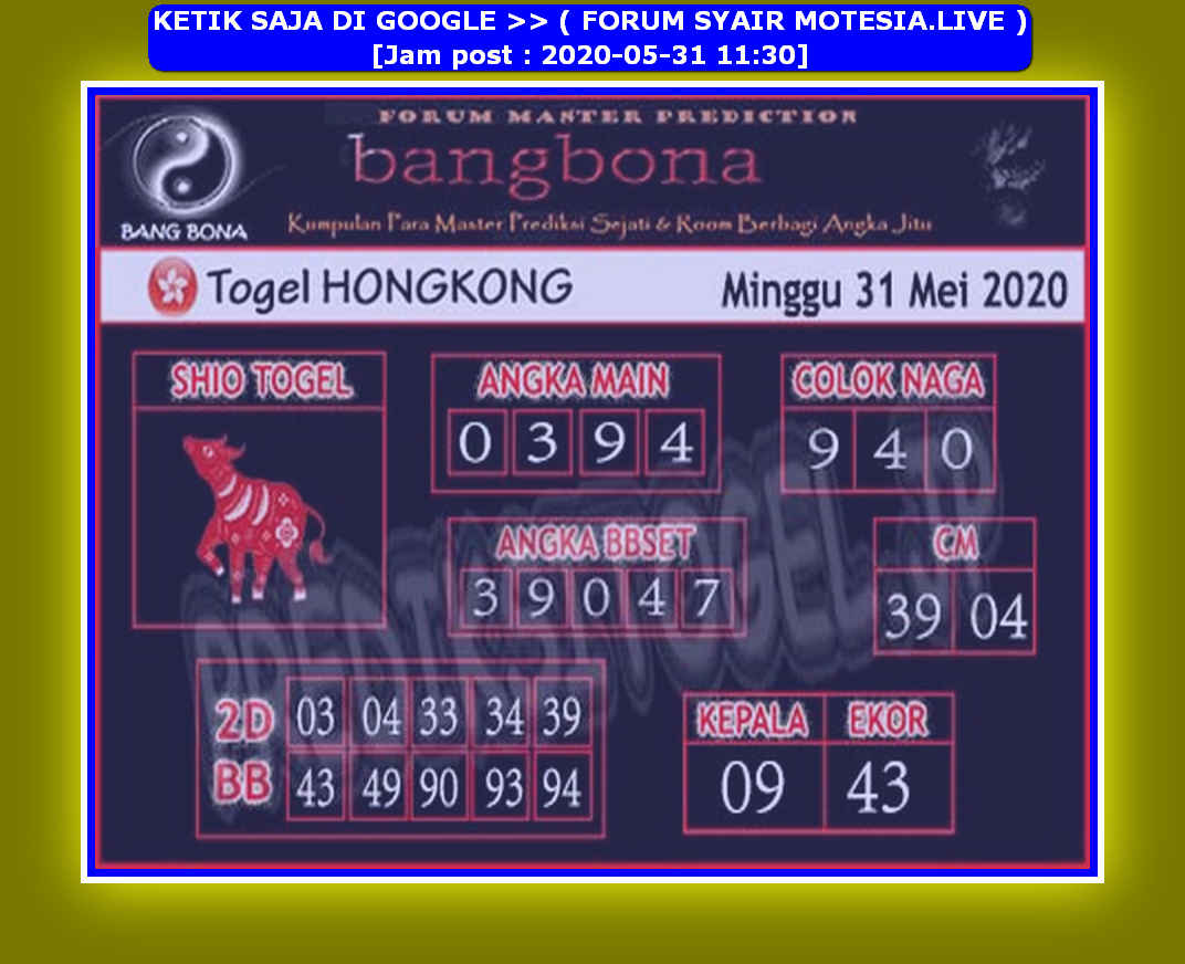 Kode syair Hongkong Minggu 31 Mei 2020 176