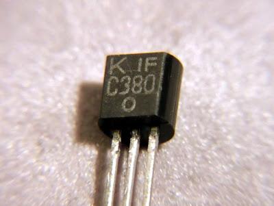 Macro image of a 2SC380 transistor