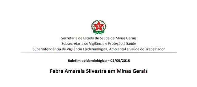 Situação epidemiológica da Febre Amarela em Minas Gerais - maio de 2018