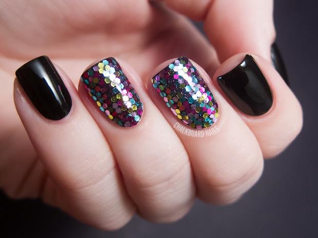 31dc2012 Day 17 Glitter Chalkboard Nails Nail Art