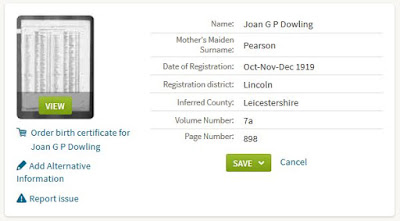Joan G.P. Dowling birth index - from Ancestry.co.uk