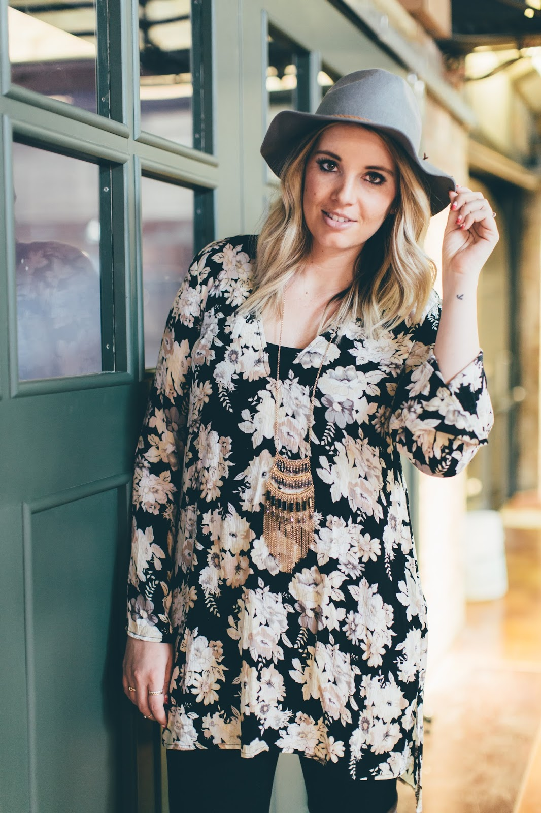 Floral Tunic, Long Necklace, Goldies