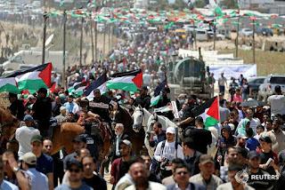 إصابة 65 فلسطيني في مسيرات ذكرى النكبة على حدود غزة اليوم
