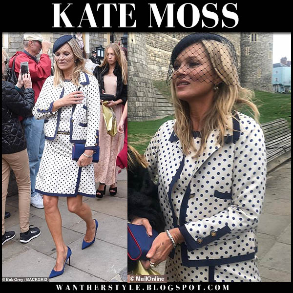Kate Moss in polka dot white and blue matching mini dress and jacket chanel at royal wedding october 12