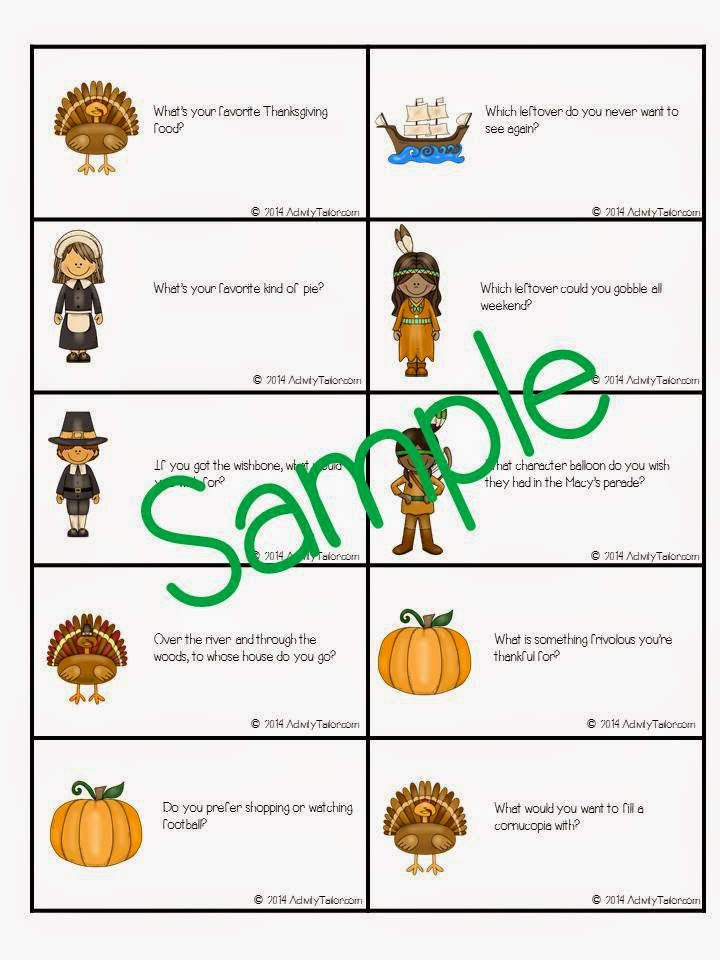 Speechie Freebies: Thanksgiving Table Topics