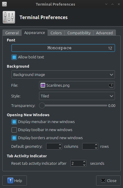 Terminal emulator that support background image on Archlinux